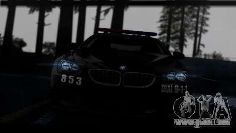 BMW M6 Coupe Redview Police para GTA San Andreas vista hacia atrás