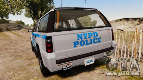 GTA V Declasse Granger NYPD para GTA 4 Vista posterior izquierda