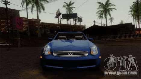 Infiniti G35 Coupe (V35) 2003 para GTA San Andreas vista hacia atrás