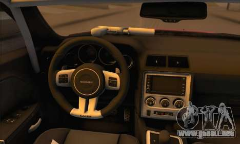 Dodge Challenger SRT8 2012 para GTA San Andreas vista hacia atrás