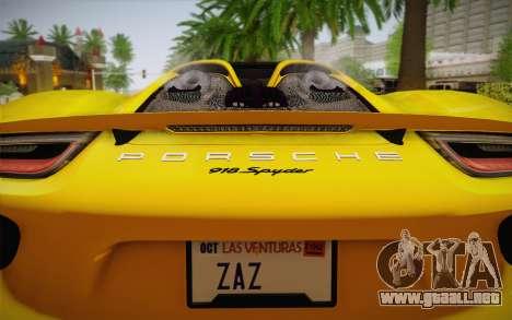 Porsche 918 2013 para GTA San Andreas vista hacia atrás