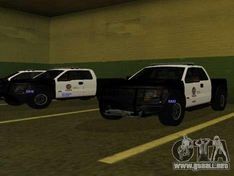 LAPD Ford F-150 Raptor para GTA San Andreas vista posterior izquierda