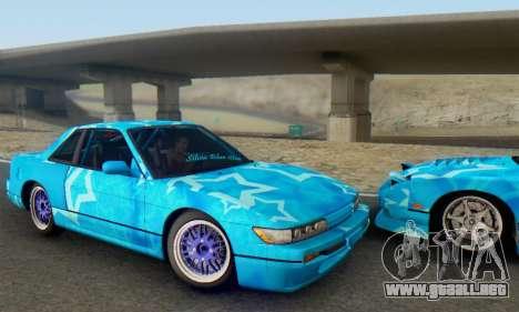 Nissan Silvia S13 Blue Star para GTA San Andreas vista hacia atrás