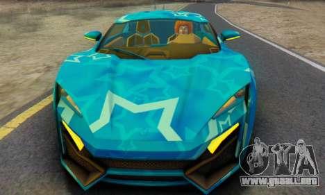 W-Motors Lykan Hypersport 2013 Blue Star para GTA San Andreas left