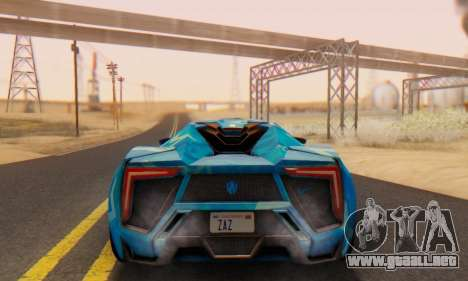W-Motors Lykan Hypersport 2013 Blue Star para GTA San Andreas vista hacia atrás