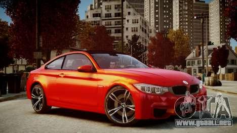 BMW M4 Coupe 2014 v1.0 para GTA 4 Vista posterior izquierda