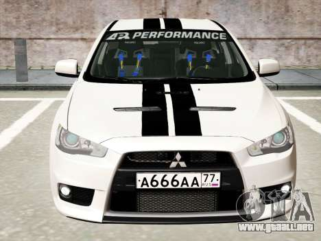 Mitsubishi Lancer Evolution X para la vista superior GTA San Andreas