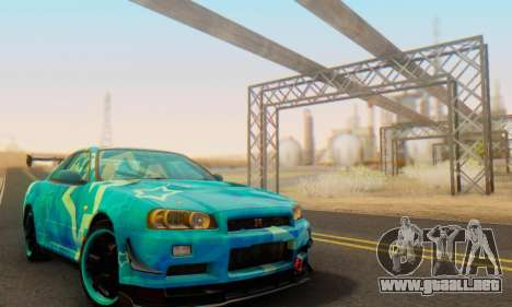 Nissan Skyline GTR 34 Blue Star para visión interna GTA San Andreas