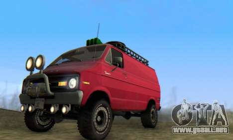 Dodge Tradesman Van 1976 para vista lateral GTA San Andreas