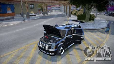 Cadillac Escalade para GTA 4 vista hacia atrás