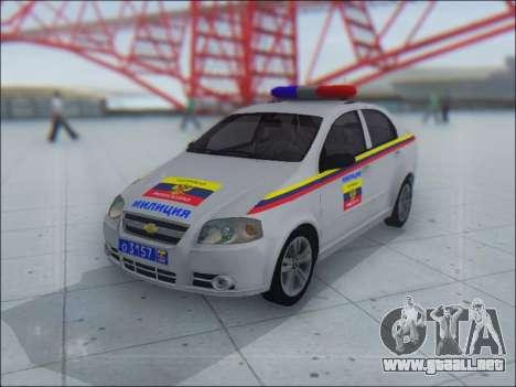 Chevrolet Aveo Милиция OHP para la vista superior GTA San Andreas
