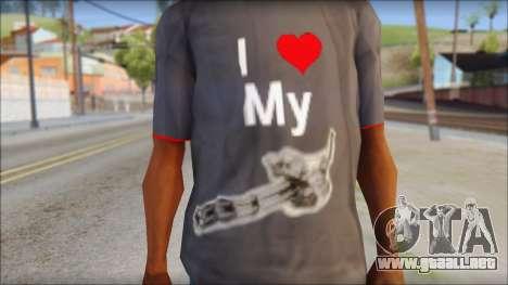 I love my gun T-Shirt para GTA San Andreas tercera pantalla