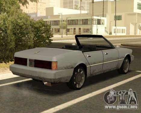 Centinela Convertible para GTA San Andreas vista posterior izquierda