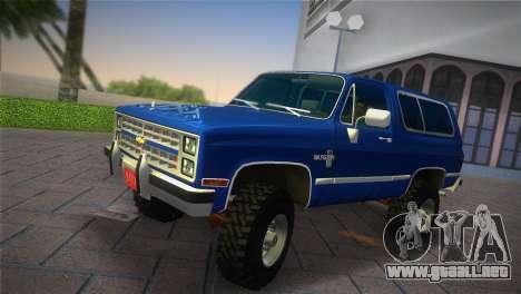 Chevrolet Blazer K5 Silverado 1986 para GTA Vice City vista lateral izquierdo