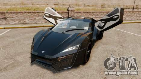 Lykan HyperSport Black para GTA 4 vista hacia atrás