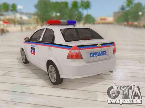 Chevrolet Aveo Policía no molestar para GTA San Andreas vista posterior izquierda