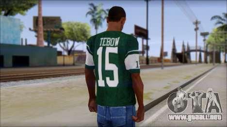 New York Jets 15 Tebow Green T-Shirt para GTA San Andreas segunda pantalla