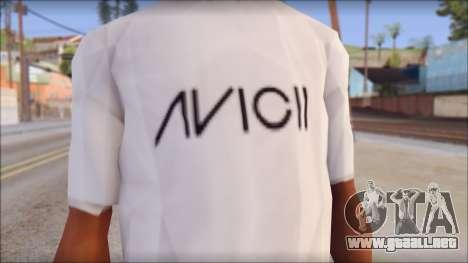 Avicii Fan T-Shirt para GTA San Andreas tercera pantalla