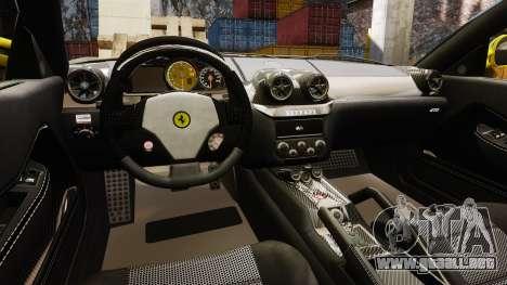 Ferrari 599 GTO PJ3 para GTA 4 vista interior