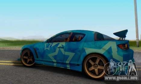 Mazda RX-8 VeilSide Blue Star para GTA San Andreas vista posterior izquierda
