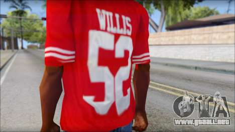 San Francisco 69ers 52 Willis Red T-Shirt para GTA San Andreas tercera pantalla