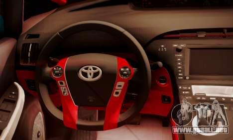 Toyota Prius Hybrid 2011 Helaflush para visión interna GTA San Andreas