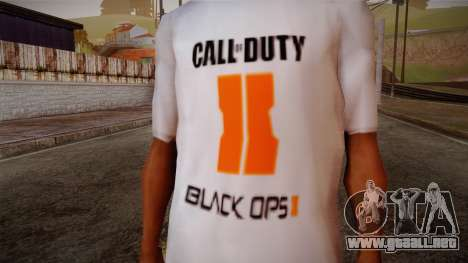 COD Black Ops II White Fan T-Shirt para GTA San Andreas tercera pantalla