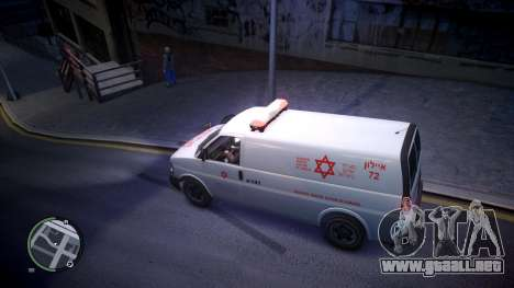 Israel MDA Ambulance para GTA 4 left