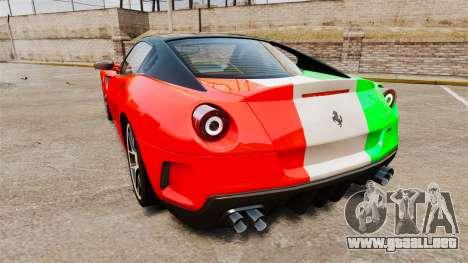 Ferrari 599 GTO PJ4 para GTA 4 Vista posterior izquierda