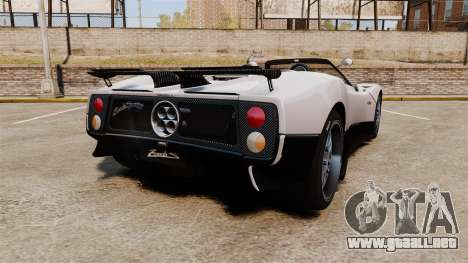 Pagani Zonda C12S Roadster 2001 v1.1 PJ2 para GTA 4 Vista posterior izquierda