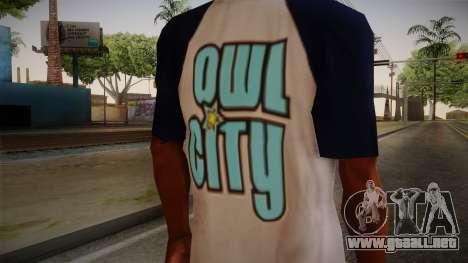 Owl City T-Shirt para GTA San Andreas tercera pantalla