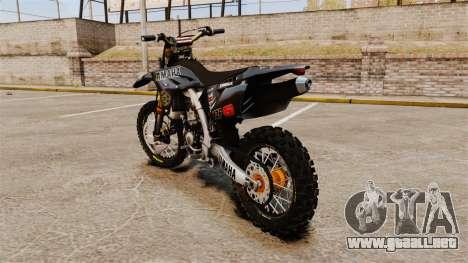 Yamaha YZF-450 v1.2 para GTA 4 Vista posterior izquierda