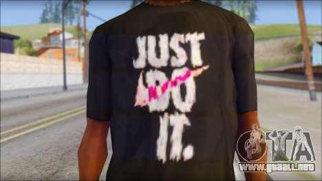 Just Do It NIKE Shirt para GTA San Andreas tercera pantalla