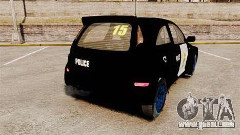 Opel Corsa Police para GTA 4 Vista posterior izquierda