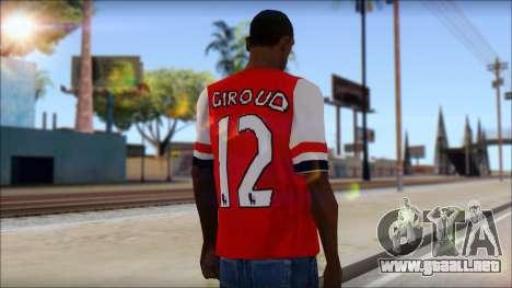 Arsenal FC Giroud T-Shirt para GTA San Andreas segunda pantalla