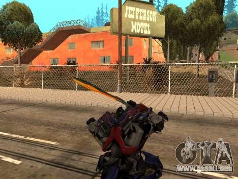 Optimus Sword para GTA San Andreas octavo de pantalla