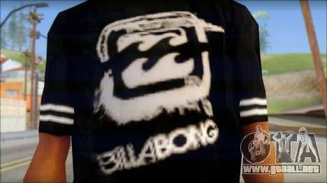 Billabong T-Shirt Black para GTA San Andreas tercera pantalla