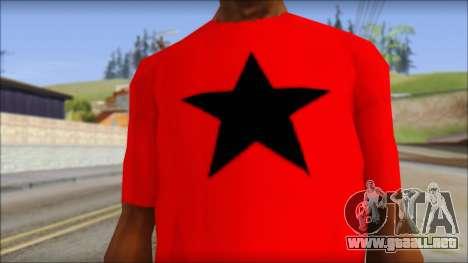 Vidick from Infected Rain Red T-Shirt para GTA San Andreas tercera pantalla