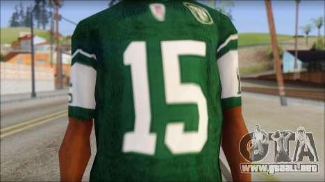 New York Jets 15 Tebow Green T-Shirt para GTA San Andreas tercera pantalla