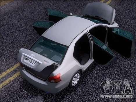Toyota Yaris 2008 Sedan para vista inferior GTA San Andreas