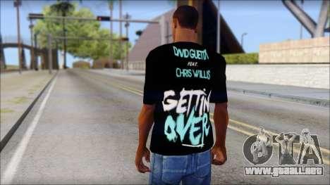 David Guetta Gettin Over T-Shirt para GTA San Andreas segunda pantalla