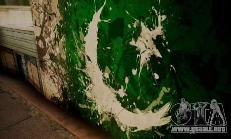Pakistani Flag Graffiti Wall para GTA San Andreas tercera pantalla
