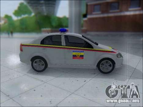 Chevrolet Aveo Милиция OHP para GTA San Andreas vista posterior izquierda