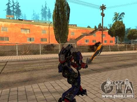 Optimus Sword para GTA San Andreas tercera pantalla