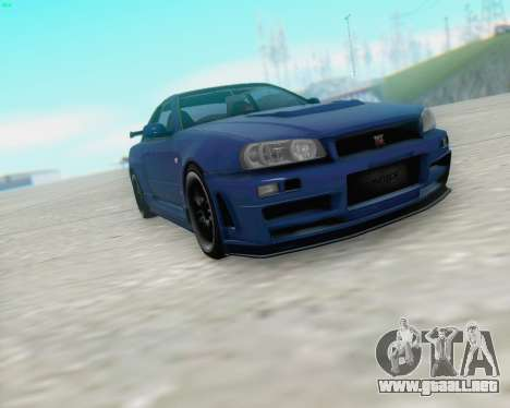 Nissan Skyline R34 Fast and Furious 4 para GTA San Andreas left