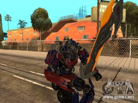 Optimus Sword para GTA San Andreas novena de pantalla