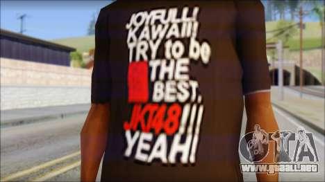 JKT48 Joyfull Kawai Shirt para GTA San Andreas tercera pantalla