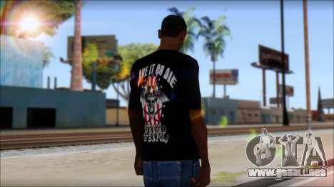 A7X Love It Or Die Fan T-Shirt para GTA San Andreas segunda pantalla
