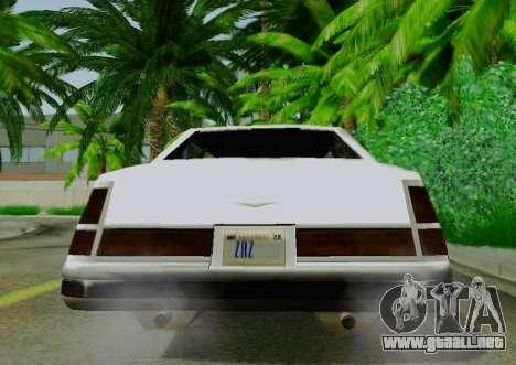 Washington Limousine para GTA San Andreas vista hacia atrás
