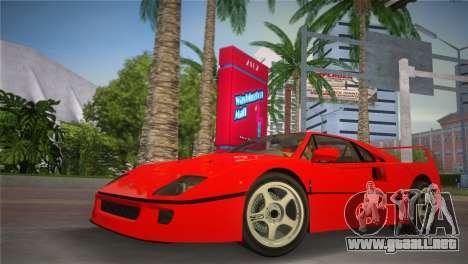 Ferrari F40 para GTA Vice City vista lateral izquierdo